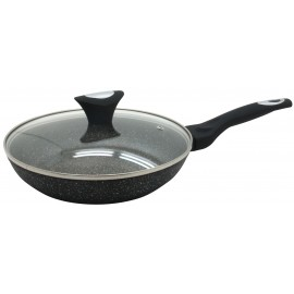 Marble non-stick frypan with glass lid