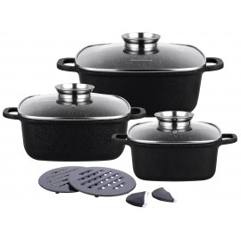 10 pcs casting non stick marble coating cookware set